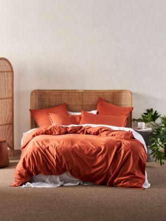 Aria Paprika Bamboo Cotton 600TC Quilt Cover Set