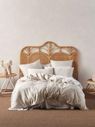 Aria Sand Bamboo Cotton 600TC Quilt Cover Set
