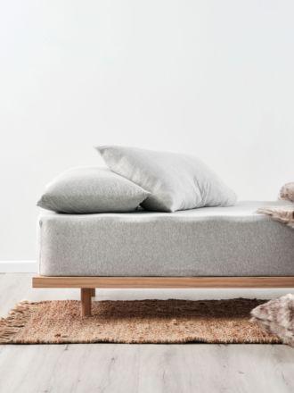 Hemsworth Silver Fitted Sheet + Pillowcase Set