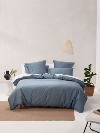 Nara Bamboo Cotton Bluestone Quilt Cover Set