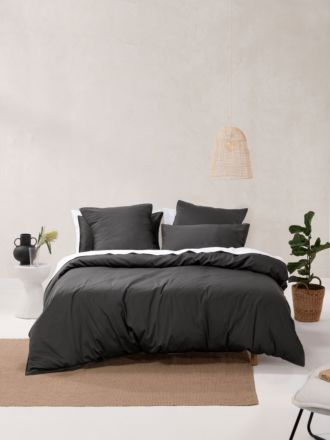 Nara Bamboo Cotton Charcoal Quilt Cover Set