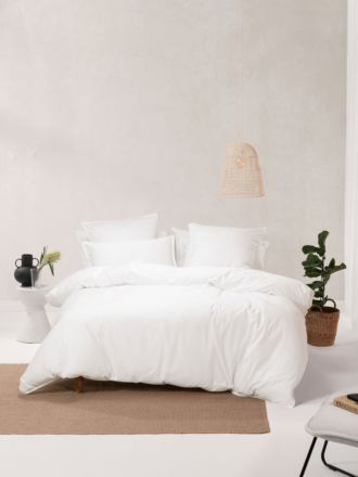 Nara Bamboo Cotton White Quilt Cover Set