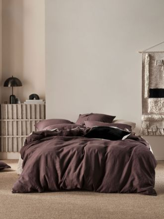 Nimes Espresso Linen Quilt Cover Set
