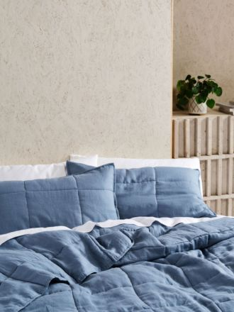 Nimes Nightfall Blue Linen Pillow Sham Set