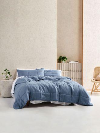 Nimes Nightfall Blue Linen Coverlet