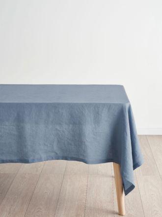 Nimes Nightfall Blue Linen Tablecloth