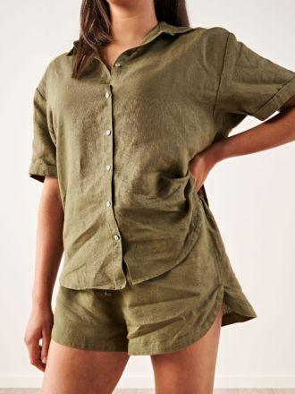 Nimes Olive Linen Shirt