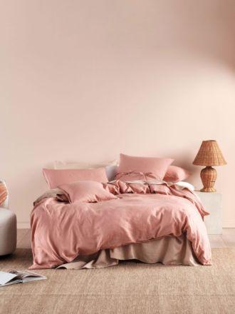 Nimes Rosette Linen Quilt Cover Set
