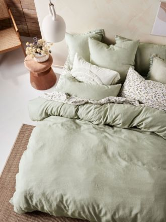 Nimes Wasabi Linen Quilt Cover Set
