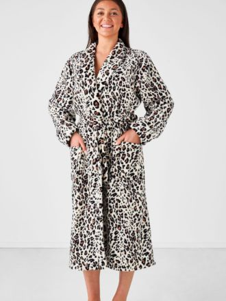 Plush Leopard Robe