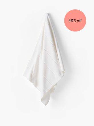 Velour Stripe White Towel Collection