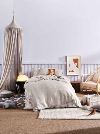 Nimes Grey Linen Kids Quilt Cover Set