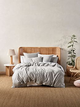 Aria Silver Bamboo Cotton 600TC Quilt Cover Set