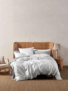Aria White Bamboo Cotton 600TC Quilt Cover Set