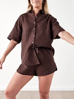 Nimes Espresso Linen Shirt