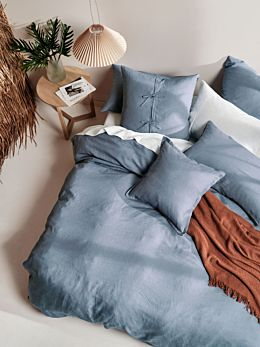 Nimes Nightfall Blue Linen Quilt Cover Set