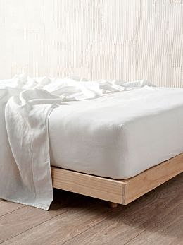 Nimes White Linen Fitted Sheet 50cm