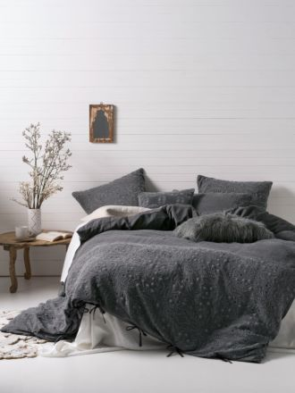 Abigail Charcoal Quilt Cover Set