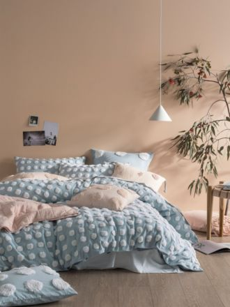 Haze Blue/White Quilt Cover Set