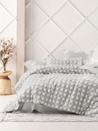 Haze Grey/White Quilt Cover Set