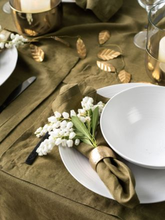 Nimes Olive Linen 4-Piece Napkin Set