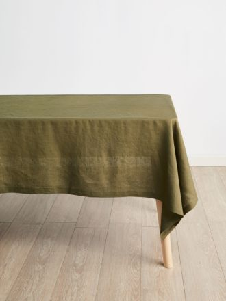 Nimes Olive Linen Tablecloth