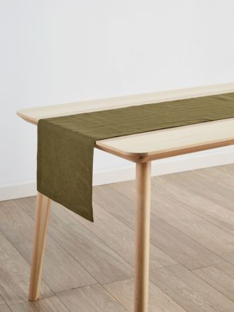 Nimes Olive Linen Table Runner