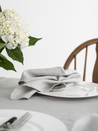 Nimes Grey Linen 4-Piece Napkin Set