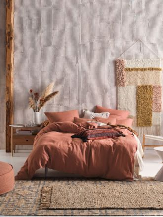 Nimes Rust Linen Quilt Cover Set