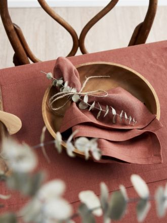 Nimes Rust Linen 4-Piece Napkin Set