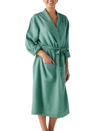Nimes Sea Foam Linen Robe