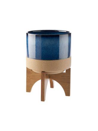 Splendor Blue Planter Pot + Stand 30cm