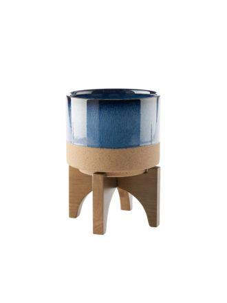 Splendor Blue Planter Pot + Stand 21cm