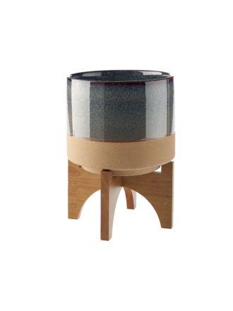 Splendor Grey Medium Planter Pot + Stand