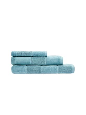 Velour Stripe Teal Towel Collection