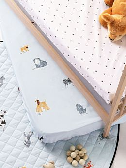 Dogs For Days 2-Piece Cot Fitted Sheet Set