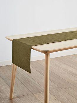 Nimes Olive Linen Table Runner